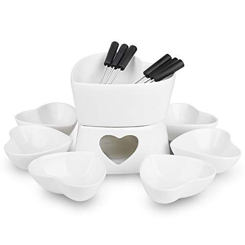 [Bigger Size and Improved] Zen Kitchen Fondue Pot Set, Glazed Ceramic Fondue Set for Chocolate Fondue or Cheese Fondue - Perfect Gift Idea for Housewarming or Birthday Gift (White)