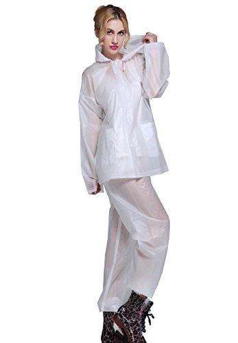 Aircee Rain Suits for Mens Raincoat Set Womens Rain Jacket Trouser Suit Reusable Rain Ponchos for Women Rainwear Packable White
