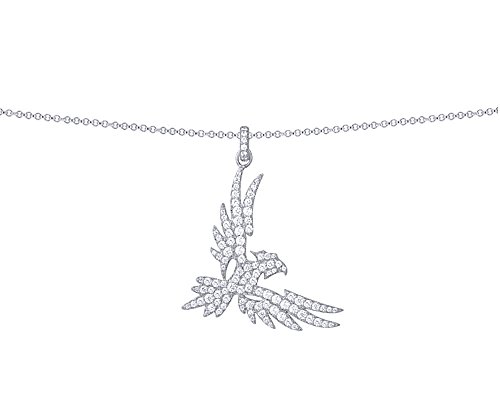 Wishrocks Round Cut White Cubic Zirconia Falcon Pendant Necklace in 14K White Gold Over Sterling Silver