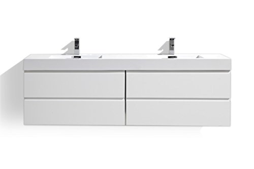 (Moreno Bath MOF 72 Inch Wall Mounted Modern Bathroom Vanity with Reinforced Acrylic Double Sink High Gloss White Glossy, High Gloss)