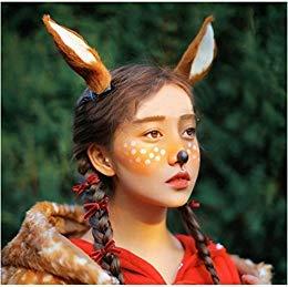 Christmas Cos Cute Deer Large Reindeer Ear Band Photo Shoot Forest Goddess Headdress ()