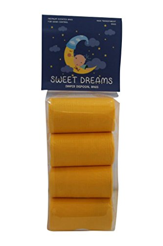Sweet Dreams 120 Count Scented Diaper Disposal Bags, Yellow, 8 Rolls