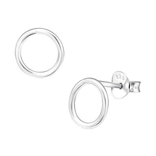 8mm Open Disk Karma Circle Ear Studs Earrings 925 Sterling Silver Push -