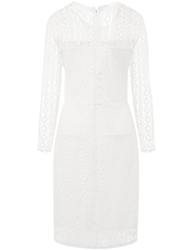 Vintage Dress White Long Aphratti Cocktail Lace Midi Overlay Women s Sleeve zPzw1qI