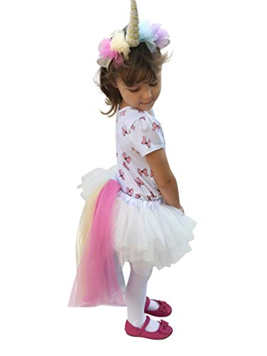 Rainbow Unicorn Tutu Dress Up Costume Outfit for Girls Birthday : Headband, Skirt Tail Outfit Size 1, 2, 3, 4, 5, 6, 7 -