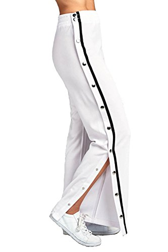 De Taille Élastique À S'ouvrant Décontracté Khanomak Jambes Cassé Blanc Pantalon Latéralement Boutons Haute Évasées L'aide nBwxtY85qY