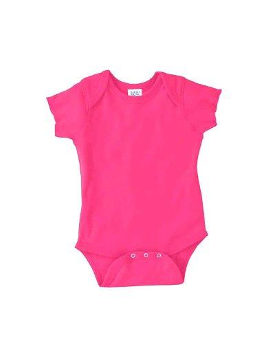 Rabbit Skins Baby 5 Oz. Baby Rib Lap Shoulder Bodysuit (4400)- HOT PINK, NB
