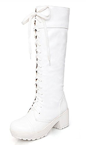 Boots White Platform Knee High (IDIFU Women's Comfy Lace up Chunky Riding Knee High Boots White 8.5 B(M) US)