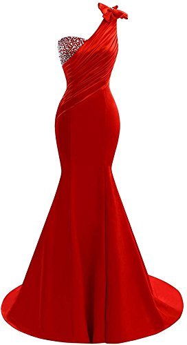 Lily Wedding Womens One Shoulder Satin Mermaid Prom Dresses 2018 Long Formal Evening Ball Gowns D44 Size 12 Red