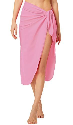- ChinFun Women's Sarongs Wrap Beach Swimwear Bikini Cover Up Long Luxury Bathing Suit Waist Wrap Solid Pink