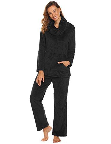 Long Sleeve Polar Fleece Top - Ekouaer Sleepwear Women's Long Polar Fleece Pajama Set Warm and Cozy Loungewear(Black, Large)