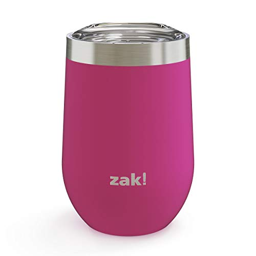 Zak Designs 11.5oz Wine Tumbler with Stainless Steel Double Wall Insulation and Lid - Keeps Beverage at Constant Temperature, and Spill-Proof Design is Perfect for Any Outdoor Activity, 11.5oz Peony