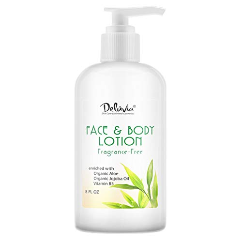 Moisturizing Body Lotion and Face Lotion. With Organic Aloe Vera, Shea Butter, Organic Jojoba Oil, Vitamin E & B5. Daily Skin Moisturizing Lotion For Dry Skin, Great For All Skin Types. by Deluvia