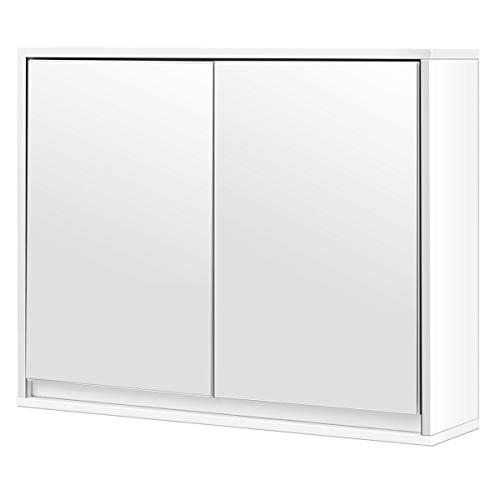 King77777 White Wall Mounted Bathroom Cabinet Double Mirror Door Shelf Spacious Storage -