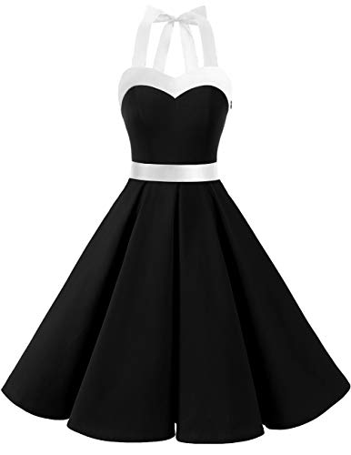 DRESSTELLS 50s Retro Halter Rockabilly Bridesmaid Audrey Dress Cocktail Dress Black White XS