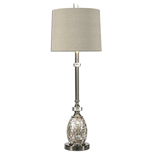 Elegant Sea Shell Mosaic Tile Buffet Lamp | Table Accent Silver Oval Tall Luxe ()