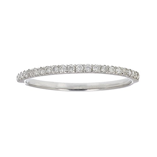 1/6 ctw Micropave Diamond Wedding Band in 10K White Gold In Size 7