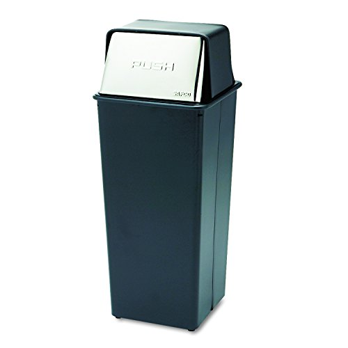 Safco Products 9893 Reflections By Safco Push Top Trash Can, 21-Gallon, Black