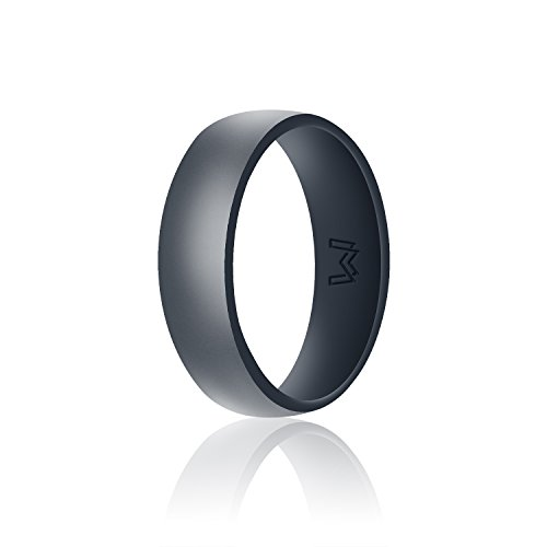 WIGERLON Mens Silicone Wedding Ring&Rubber Wedding Bands for Workout and Sports Width 8mm Color Dark Grey Size 10]()