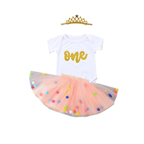 Crown Skirt - Baby Girls 1st Birthday Outfit Glitter One Romper Balls Skirt Crown Headband (Peach, 6-9Months)