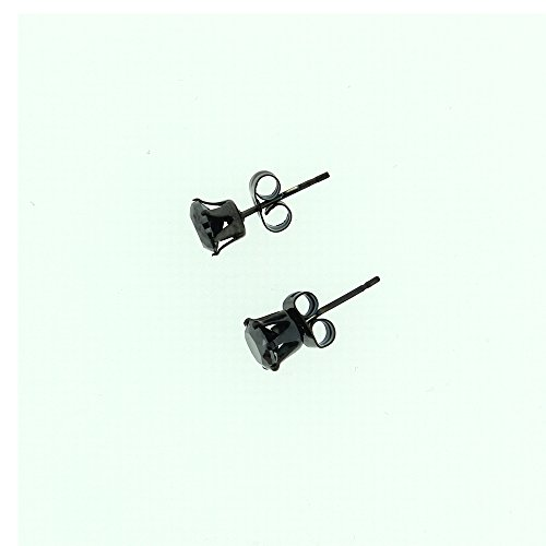 Stainless Steel Black Crystal Stone Claw Stud Earrings- Mens Jewellery by Opouriao