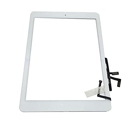 Digitizer Replacement Touch Screen for iPad Air 1 1st Generation A1474 A1475 A1476, Aiiworld Touch Panel Parts with Home Button, Camera Bracket, Adhesive Pre-installed (White)