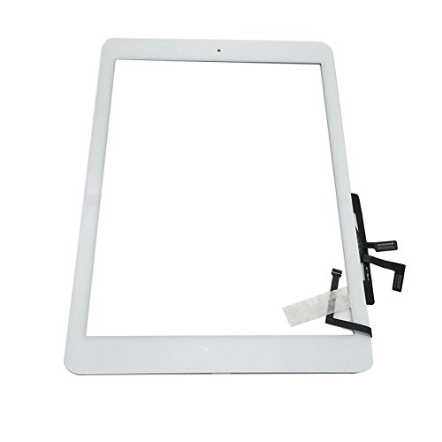 Digitizer Replacement Touch Screen for Ipad Air 1 1st Generation A1474 A1475 A1476, Aiiworld 9.7 Touch Panel Parts with Home Button, Camera Bracket, Adhesive Pre-Installed (White)