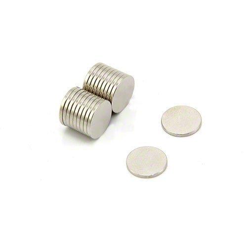 First4magnets F307-20 N42 Neodym-Magneten, 0,58 kg ziehen, Packung mit 20, Metall, silber, 10 mm Durchmesser x 1 mm dicken
