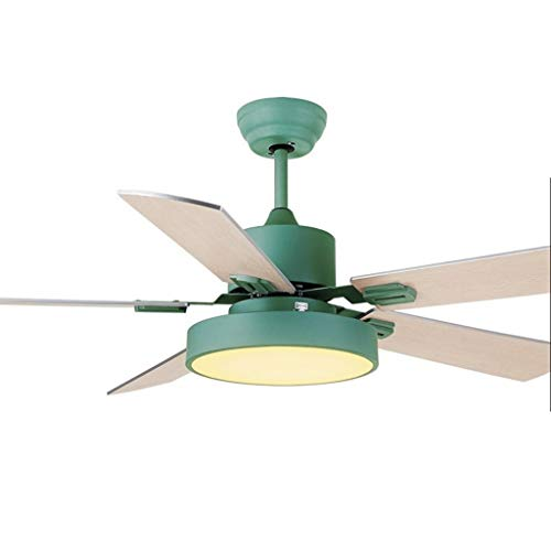 Ceiling Fans North European Household Fan Light Ceiling Fan Light Low Small Apartment Restaurant Living Room Chandelier 42 Inch/52 Inch Ceiling Fan Light ( Color : Green , Size : 52 inches )