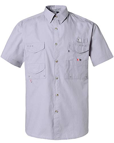 Alimens & Gentle Short Sleeve Wicking Fabric Sun Protection Fishing Casual Shirts - Color: Grey, Size: 2XL
