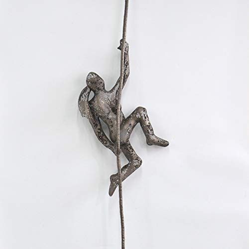 Bronze Metal Climbing Woman Wall Art Hanging Sculpture, Handmade Rock Climber
