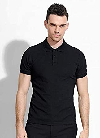 Four-Leaf Clover Men Regular Fit Cotton Polo Shirts Classic Short Sleeve Polo Black