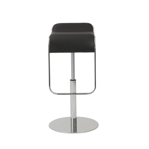 Arm Euro Bar Stool - Euro Style Freddy Height Adjustable Bar to Counter Stool, Black Leatherette Seat