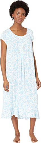 Eileen West Women's Modal Waltz Nightgown White Ground Floral Large (Nightgown Pintucked)
