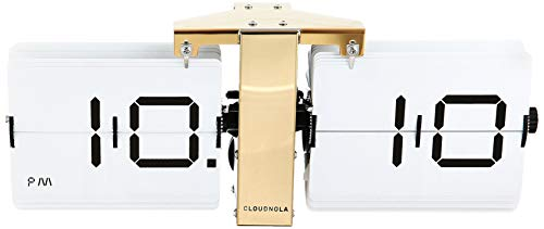 Cloudnola Flipping Out White and Gold Wall Clock