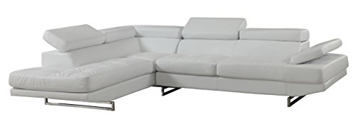 Blackjack Furniture 8136-WHITE-RAF Sectional Leather Match Right-Facing Sectional, White , 1 Piece