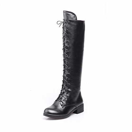 Black to cylinder cross straps winter boots size Autumn high boots high and low qtvwgz7x