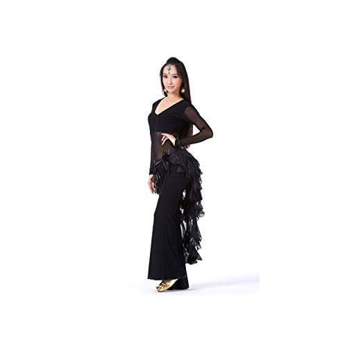 Latin Belly Dance Costume Tassel Wrap Belt Chain Skirts Chiffon Hip Scarf Tribal Waves H,Purple