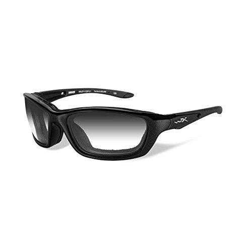 Wiley X Brick Sunglasses, Light Adjusting Smoke Grey, Metallic Black