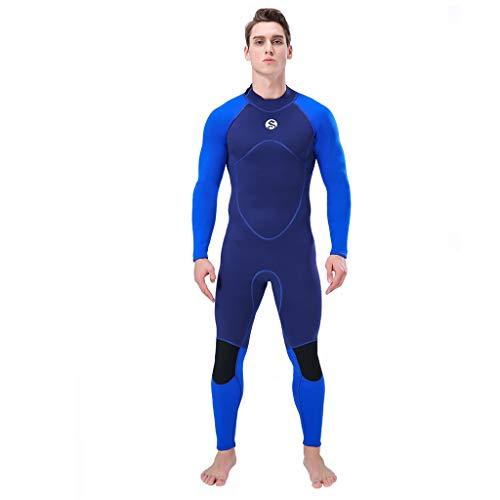 (Seaintheson Men's Wetsuit 3MM Back Zip Full Body Diving Suit Super Stretch Diving Suit Swim Surf Snorkeling (Blue, M))