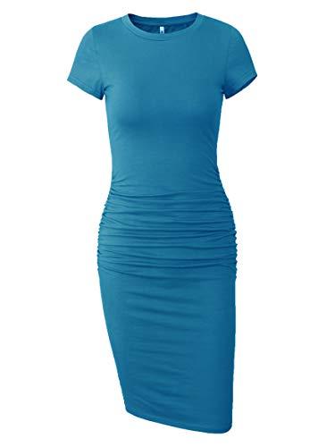 Missufe Women's Ruched Casual Sundress Midi Bodycon Sheath Dress (Acid Blue, X-Small) from Missufe