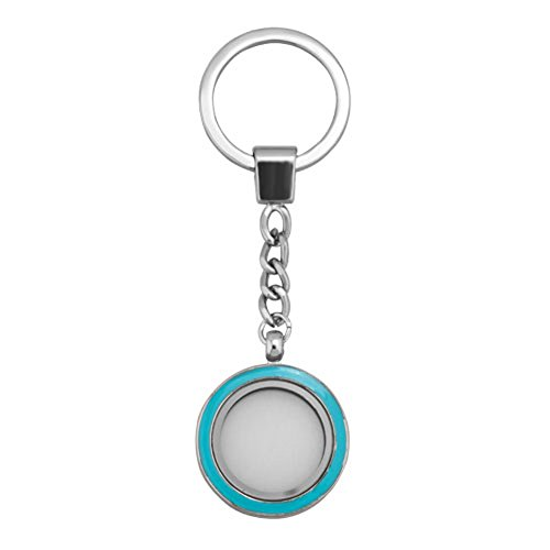 ShinyJewelry Living Memory Locket Keychain Key Chain Ring For Floating Charms (Heart-3) (Blue)
