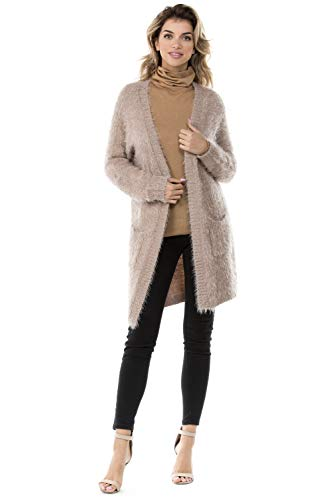 Women's Angora Sweater Cardigan with Open Front and Pockets (Small, Champagne Pink)