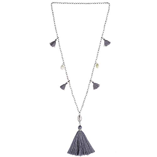 KELITCH Long Beaded Necklace Bohemia Shell Pendant Tiered Layered Tassel Thread Y Shaped Necklace for Women Girls Gray