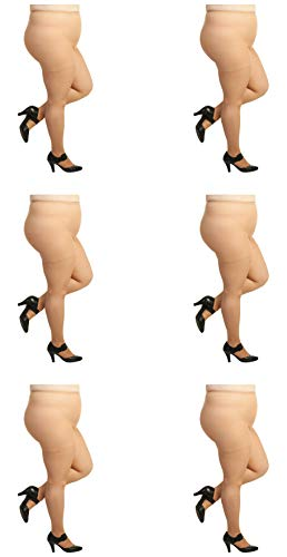 Silky Toes Plus Size Queen Soft Sheer Pantyhose- 2 Pairs (1X-2X, Suntan - 6 Pair)