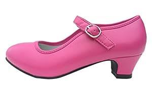La Señorita Zapato Flamenco Princesa Bailarinas baile Sevillanas niña rosa fucsia (Talla 32 - 21 cm, rosa fucsia)