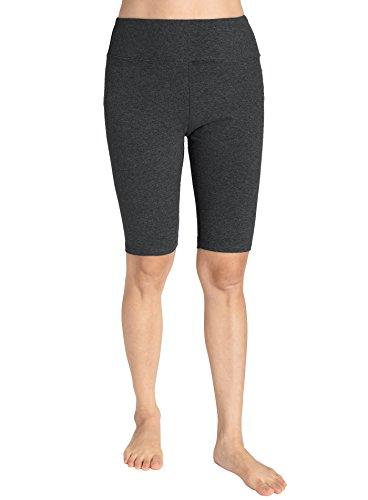 Weintee Women's Cotton Spandex Yoga Shorts Workout Gym Shorts XL Charcoal by Weintee