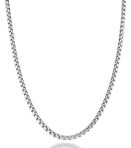 (MiaBella 925 Sterling Silver Italian 3.5mm Solid Round Box Link Chain Necklace Bracelet for Women Men, 7.5