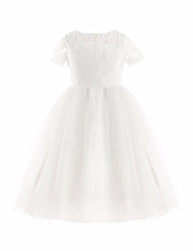 FEESHOW Crochet Lace Flower Girls Heart Back Wedding Communion Pageant Party Prom Dress White 4