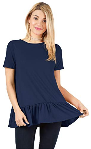Womens Long & Short Sleeve Flowy Loose Regular and Plus Size Tunic Tops for Leggings with Ruffle Hem - Made in USA (Size Large US 10-12, Navy/Short Sleeve)